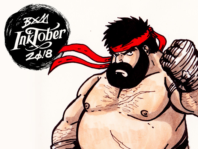 Inktober 2018 – dia 2 – (Fat) Hot Ryu
